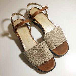 Salvatore Ferragamo Boutique Straw Sandals.
